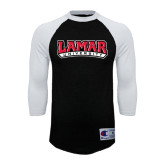 Champion Black/White Raglan Baseball T Shirt-Lamar University