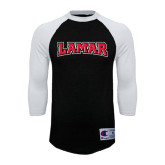 Champion Black/White Raglan Baseball T Shirt-Lamar