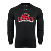 Under Armour Black Long Sleeve Tech Tee-Lamar University w/Cardinal Head