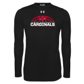Under Armour Black Long Sleeve Tech Tee-Half Ball Basketball Design