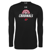 Under Armour Black Long Sleeve Tech Tee-Geometric Volleyball Design