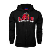 Black Fleece Full Zip Hood-Lamar University w/Cardinal Head