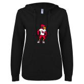 ENZA Ladies Black V Notch Raw Edge Fleece Hoodie-Cardinal Full Body