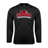 Syntrel Performance Black Longsleeve Shirt-Lamar University w/Cardinal Head