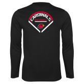 Syntrel Performance Black Longsleeve Shirt-Baseball Geometric Plate