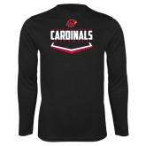 Performance Black Longsleeve Shirt-Baseball Plate Design