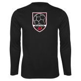 Performance Black Longsleeve Shirt-Soccer Shield Design