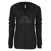ENZA Ladies Black Light Weight Fleece Full Zip Hoodie-Primary Mark Glitter