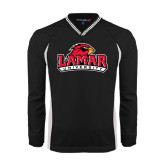 Colorblock V Neck Black/White Raglan Windshirt-Lamar University w/Cardinal Head