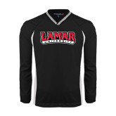 Colorblock V Neck Black/White Raglan Windshirt-Lamar University