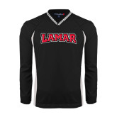 Colorblock V Neck Black/White Raglan Windshirt-Lamar