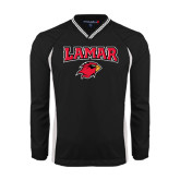 Colorblock V Neck Black/White Raglan Windshirt-Lamar w/Cardinal Head