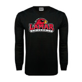Black Long Sleeve TShirt-Lamar University w/Cardinal Head