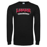 Black Long Sleeve TShirt-Lamar University Cardinal Stacked