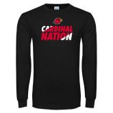 Black Long Sleeve TShirt-Cardinal Nation