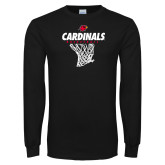 Black Long Sleeve TShirt-Basketball Net Design