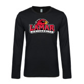 Longsleeve Black Thermal-Lamar University w/Cardinal Head