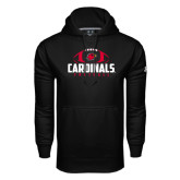 Under Armour Black Performance Sweats Team Hoodie-Football Stacked Ball Design