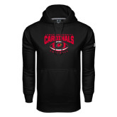 Under Armour Black Performance Sweats Team Hoodie-Football Arched Over Ball