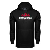 Under Armour Black Performance Sweats Team Hoodie-Soccer Half Ball Design