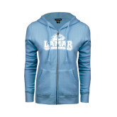 Ladies Light Blue Fleece Full Zip Hoodie-Lamar University w/Cardinal Head