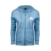 Ladies Light Blue Fleece Full Zip Hoodie-Lamar University w/Cardinal Head