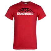 Red T Shirt-Half Ball Basketball Design