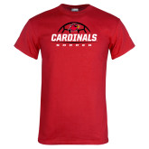 Red T Shirt-Soccer Half Ball Design
