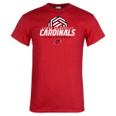 Red T Shirt-Geometric Volleyball Design