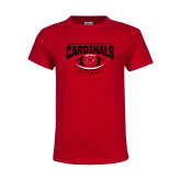 Youth Red T Shirt-Football Arched Over Ball