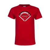Youth Red T Shirt-Baseball Geometric Plate