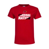 Youth Red T Shirt-Cardinal Nation