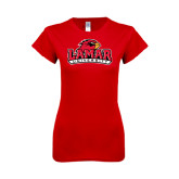 Ladies SoftStyle Junior Fitted Red Tee-Lamar University w/Cardinal Head