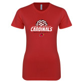 Next Level Ladies SoftStyle Junior Fitted Red Tee-Geometric Volleyball Design