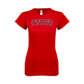 Ladies SoftStyle Junior Fitted Red Tee-Lamar