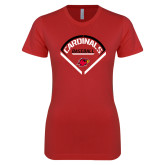 Next Level Ladies SoftStyle Junior Fitted Red Tee-Baseball Geometric Plate