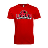 SoftStyle Red T Shirt-Lamar University w/Cardinal Head