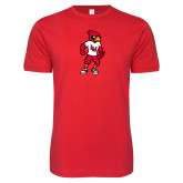 Next Level SoftStyle Red T Shirt-Cardinal Full Body