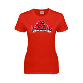 Ladies Red T Shirt-Lamar University w/Cardinal Head