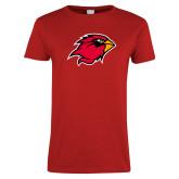 Ladies Red T Shirt-Cardinal Head