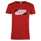 Ladies Red T Shirt-Cardinal Nation