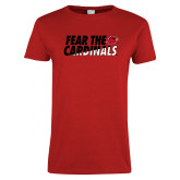 Ladies Red T Shirt-Fear The Cardinals