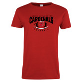 Ladies Red T Shirt-Football Arched Over Ball