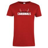 Ladies Red T Shirt-Football Goal Design