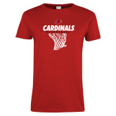 Ladies Red T Shirt-Basketball Net Design