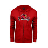 Ladies Red Fleece Full Zip Hoodie-Lamar University w/Cardinal Head