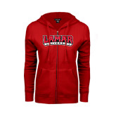 Ladies Red Fleece Full Zip Hoodie-Lamar University