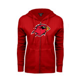 Ladies Red Fleece Full Zip Hoodie-Cardinal Head