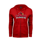 Ladies Red Fleece Full Zip Hoodie-Football