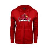 Ladies Red Fleece Full Zip Hoodie-Tennis